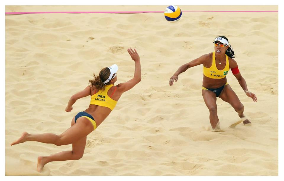 """<p>Skimpy two-pieces come to mind when we think of women's beach volleyball, but for the 2012 Olympics, the International Volleyball Federation <a href=""""http://www.telegraph.co.uk/sport/olympics/volleyball/9169429/London-2012-Olympics-female-beach-volleyball-players-permitted-to-wear-less-revealing-uniforms.html"""" rel=""""nofollow noopener"""" target=""""_blank"""" data-ylk=""""slk:finally allowed women"""" class=""""link rapid-noclick-resp"""">finally allowed women</a> to wear sleeves and longer bottoms. The group added the rules in order to be more culturally inclusive, and now women can <a href=""""https://www.yahoo.com/style/hijab-leggings-and-long-sleeves-wont-hinder-190328090.html"""" data-ylk=""""slk:even compete in hijabs;outcm:mb_qualified_link;_E:mb_qualified_link;ct:story;"""" class=""""link rapid-noclick-resp yahoo-link"""">even compete in hijabs</a> if they so please.</p><p><i>(Photo: Getty Images)</i><br></p>"""