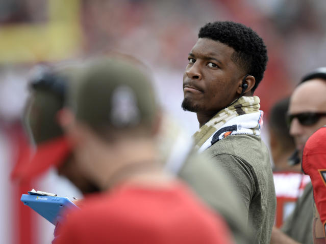 Tampa Bay Buccaneers quarterback Jameis Winston has endured a woeful third season. (AP Photo/Jason Behnken)