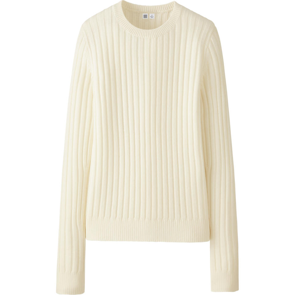 "<p>Uniqlo U Lambswool Extra Fine Merino Wide Ribbed Crewneck Sweater, $49.90, <a rel=""nofollow"" href=""http://www.uniqlo.com/UniqloU/us/"">uniqlo.com</a> </p>"