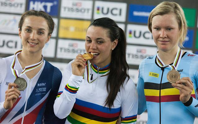 Elinor Barker (left) was beaten by Rachele Barbieri in Hong Kong on the opening day of the Track Cycling World Championships - EPA