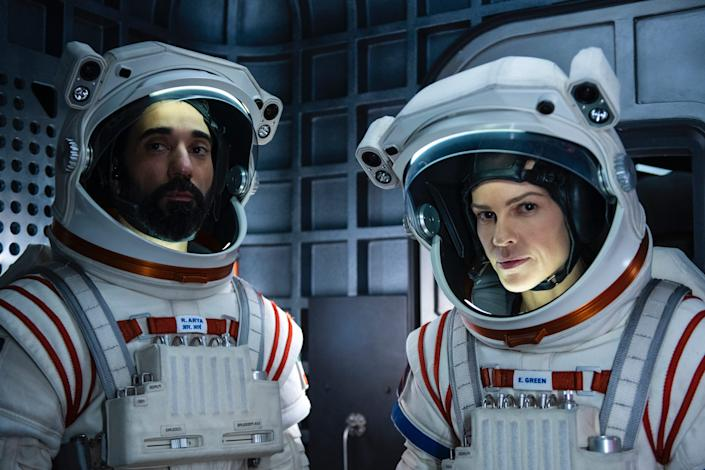 Ray Panthaki and Hilary Swank in Away Netflix TV show