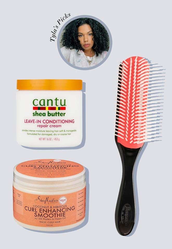 """For a wash-n-go, I start by leaving the <a href=""""https://shop-links.co/1681372577201341235"""" rel=""""nofollow"""">Philip Kingsley Elasticizer</a> on my damp hair for 10 minutes. Then I wash it with the <a href=""""https://www.amazon.com/Pantene-Shampoo-Moisture-Natural-Textured/dp/B01M1NBIHC"""" rel=""""nofollow"""">Pantene Gold Series Shampoo</a> and <a href=""""https://www.amazon.com/Pantene-Condition-Moisture-Boost-Ounce/dp/B07TLZXXPP/ref=sr_1_32?crid=3883YWT25IB5M&keywords=pantene%20gold%20series%20conditioner&qid=1565900347&s=beauty&sprefix=pantene%20gold%20series%20con,beauty,122&sr=1-32"""" rel=""""nofollow"""">Conditioner</a>, and detangle with a paddle brush in the shower. Then I apply  <a href=""""https://www.amazon.com/Cantu-Argan-Leave-Conditioning-Repair/dp/B01LTIAUAG/ref=sr_1_3?keywords=Cantu%20Leave%20in%20Conditioner&qid=1565900415&s=beauty&sr=1-3"""" rel=""""nofollow"""">Cantu Leave in Conditioning Repair Cream</a> to my wet hair. I started going natural with this product four years ago and it's still a staple in my hair regimen. It's affordable and always does the job. I also cocktail <a href=""""https://shop-links.co/1681440238744430011"""" rel=""""nofollow"""">Shea Moisture Curl Enhancing Smoothie</a> and <a href=""""https://shop-links.co/1681440343865259101"""" rel=""""nofollow"""">Devacurl's Super Stretch</a>, and starting from my roots, brush all products through my hair using the <a href=""""https://www.amazon.com/Denman-Cushion-Brush-Nylon-Bristles/dp/B00197623M?th=1"""" rel=""""nofollow"""">Denman</a> brush which also helps with styling. I finish off my curls by scrunching with a cotton T-shirt to help with definition and frizz, and diffuse for 30 minutes. Then, I pick out my hair, and that's it!"""