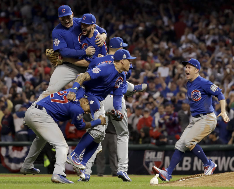Chicago Cubs celebrate after Game 7 of the Major League Baseball World Series against the Cleveland Indians, Nov. 3, 2016, in Cleveland. (Matt Slocum/AP)