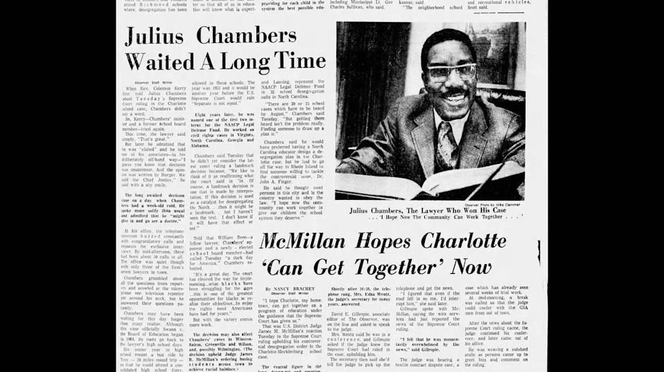 A story in the Charlotte Observer on April 21, 1971, the day after the Supreme Court ruled in favor of the Swann family, represented by civil rights attorney Julius Chambers. Accessed April 2021 via Newspapers.com.