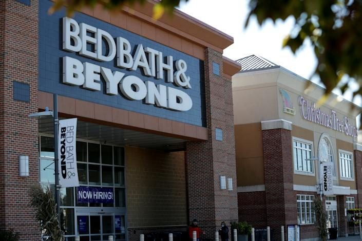 FOXBOROUGH, MA - OCTOBER 14: Patriot Place stores Bed Bath & Beyond and Christmas Tree Shops in Foxborough, MA on Oct. 14, 2020. (Photo by Jonathan Wiggs/The Boston Globe via Getty Images)