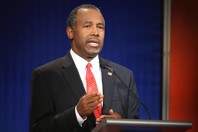 Republican presidential candidate Ben Carson, pictured on January 14, 2016, suspended campaign activity after a car accident involving members of his team