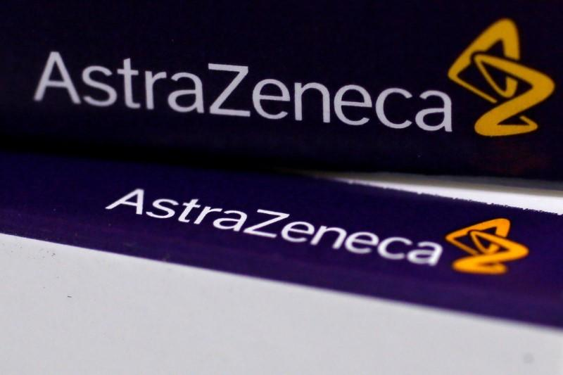 FILE PHOTO -The logo of AstraZeneca is seen on medication packages in a pharmacy in London