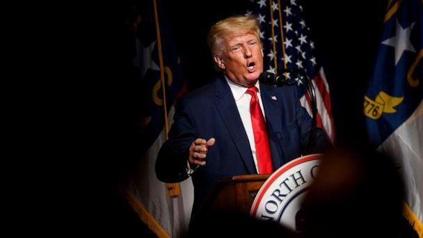 PHOTO: Former President Donald Trump addresses the NCGOP state convention in Greenville, N.C., June 5, 2021. (Melissa Sue Gerrits/Getty Images)
