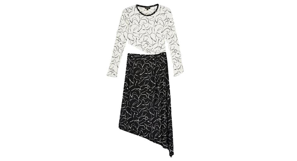 """<p>This scribble-effect Topshop dress is so fun. Need. <br><a rel=""""nofollow noopener"""" href=""""http://www.topshop.com/en/tsuk/product/new-in-this-week-2169932/new-in-fashion-6367514/scribble-mix-and-match-dress-7986967"""" target=""""_blank"""" data-ylk=""""slk:Buy here."""" class=""""link rapid-noclick-resp"""">Buy here.</a> </p>"""