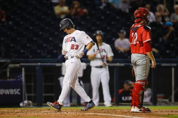 United States outfielder Luke Williams rounds the bases after hitting a home run during a 10-1 win over Canada in the Super Round of the WBSC Baseball Americas Qualifier on Friday. (Sam Navarro/USA TODAY Sports - image credit)