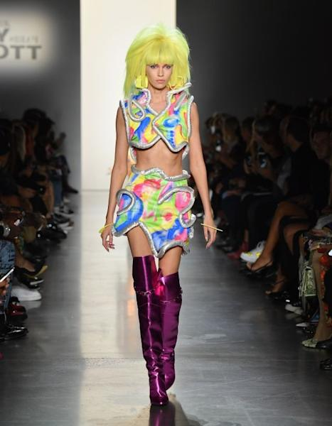 True to form, Jeremy Scott presented a high-voltage collection, this time drawing inspiration from the '70s with silhouettes that look like they just landed from outer space. New York, September 6, 2019