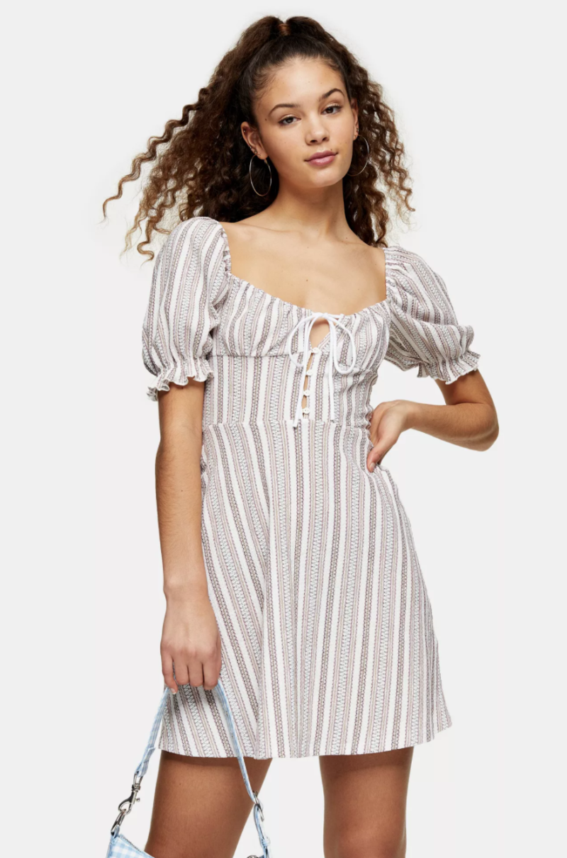 Textured Stripe Tea Dress. Image via Topshop.