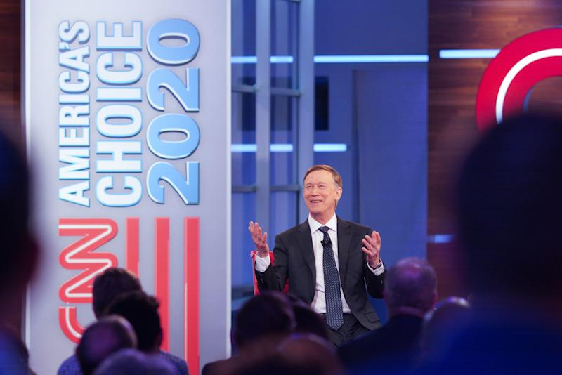 Former Colorado Gov. John Hickenlooper participates in a live CNN presidential town hall in Atlanta on Wednesday. (Raymond McCrea Jones/CNN)
