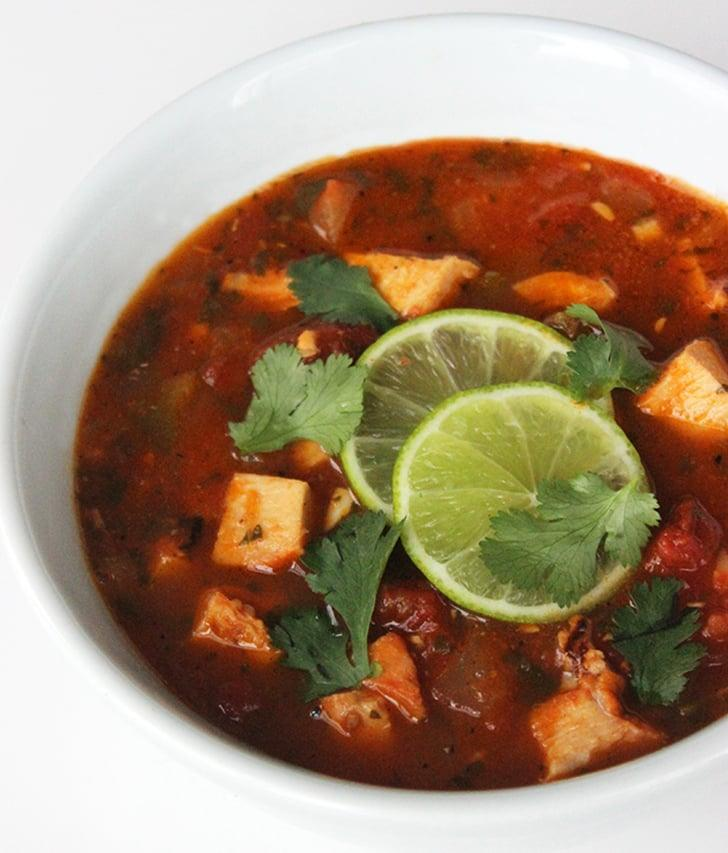 """<p>This low-carb version of tortilla soup is spicy, delicious, and packed with protein. It makes six servings, too, so consider dinner for the week done.</p> <p><strong>Get the recipe:</strong> <a href=""""https://www.popsugar.com/fitness/Low-Carb-Tortilla-Soup-33941339"""" class=""""ga-track"""" data-ga-category=""""Related"""" data-ga-label=""""https://www.popsugar.com/fitness/Low-Carb-Tortilla-Soup-33941339"""" data-ga-action=""""In-Line Links"""">tortilla-less soup</a></p>"""