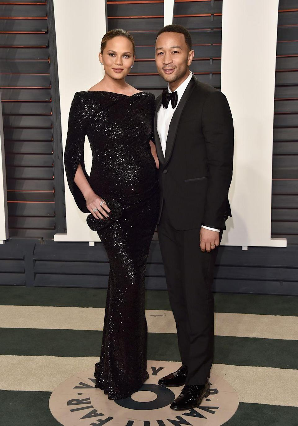 <p>After the show, the couple hit up the Oscars Vanity Fair afterparty with Teigen stunning in a black sequinned gown.</p>