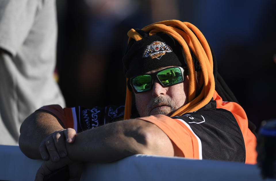 A Tigers supporter is seen during the round 23 NRL match between the Wests Tigers and the Cronulla Sharks at Browne Park, on August 21, 2021, in Rockhampton, Australia.
