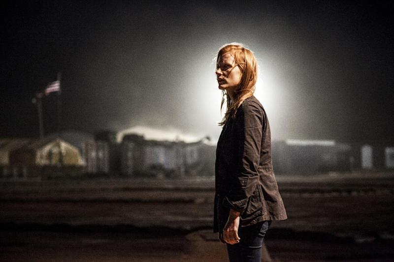 """This undated publicity photo released by Columbia Pictures Industries, Inc. shows Jessica Chastain,  as Maya, a member of the elite team of spies and military operatives stationed in a covert base overseas, who secretly devoted themselves to finding Osama Bin Laden in Columbia Pictures' new thriller, """"Zero Dark Thirty,"""" directed by Kathryn Bigelow. Chastain received an Academy Award nomination for best actress for her portrayal of the young, obsessed CIA operative driving the search. (AP Photo/Columbia Pictures Industries, Inc., Jonathan Olley)"""