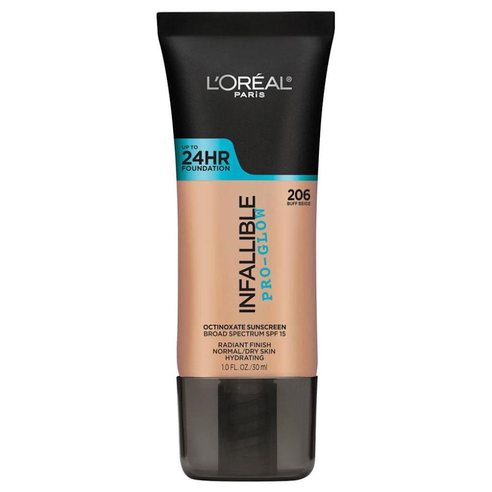 """<p>Its dewy finish leaves your skin so fresh and healthy looking, you can skip highlighter — and you'll feel hydrated for up to 24 hours. ($12.99; <a rel=""""nofollow noopener"""" href=""""https://www.amazon.com/LOreal-Paris-Cosmetics-Infallible-Foundation/dp/B01DPA6JXS?tag=syndication-20"""" target=""""_blank"""" data-ylk=""""slk:amazon.com"""" class=""""link rapid-noclick-resp"""">amazon.com</a>)</p>"""