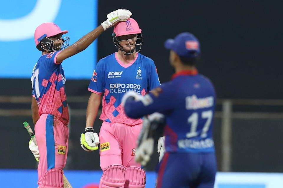 Rajasthan Royals players on Thursday, 15 April, celebrate their win in the Indian Premier League match against Delhi Capitals at the Wankhede Stadium in Mumbai.