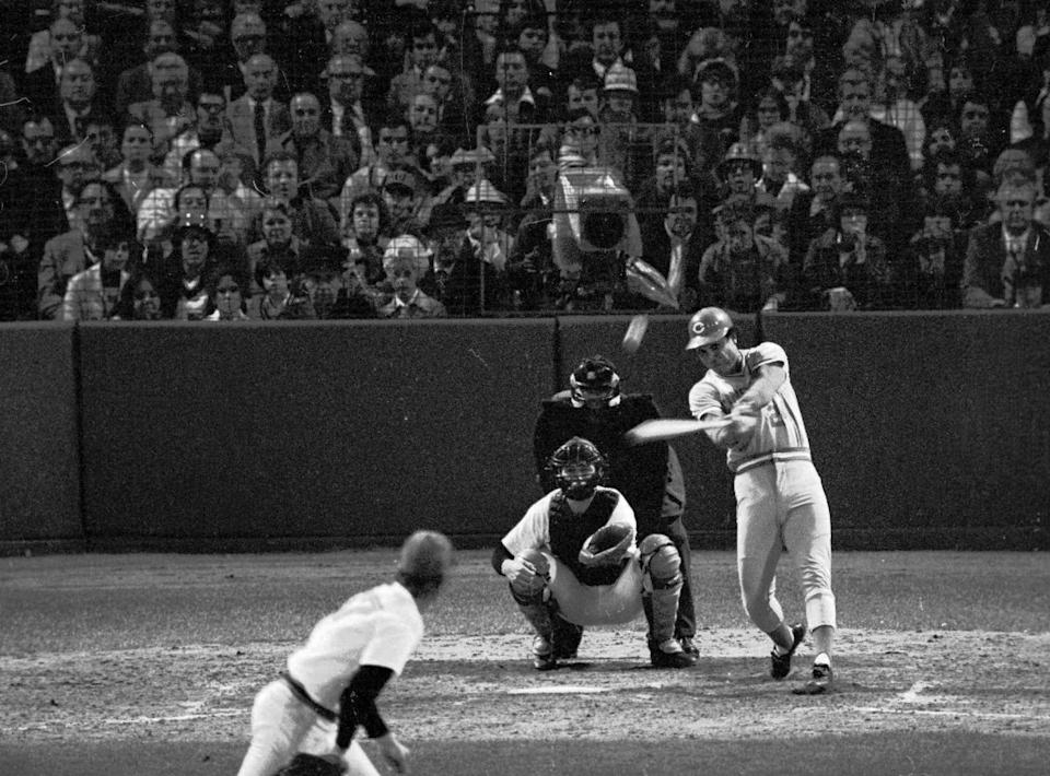 Tony Perez slams a homer over the left field screen in the sixth inning of Game 7 of the 1975 World Series in Boston.