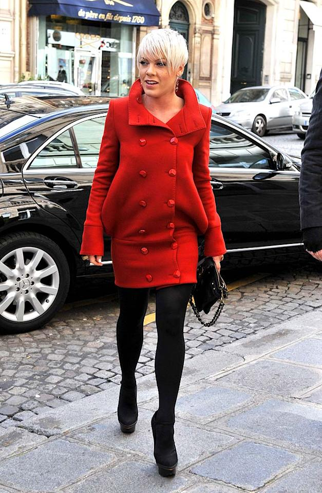 """Also in attendance? Pink, who arrived at the Carreau du Temple in a super cute scarlet coat dress and black tights. A/<a href=""""http://www.x17online.com"""" target=""""new"""">X17 Online</a> - March 9, 2009"""