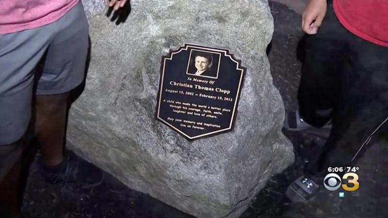 The memorial was erected to honor 9-year-old Christian Clopp, a local Cub Scout who died in 2012 from an inoperable brain tumor. (Photo: CBS Philly)