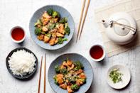 """Top quick-cooking white rice with saucy sesame chicken and broccoli, sprinkle with scallions and sesame seeds, and serve. Do chicken dinners get easier (or more flavorful) than that? <a href=""""https://www.epicurious.com/recipes/food/views/quick-sesame-chicken-with-broccoli?mbid=synd_yahoo_rss"""" rel=""""nofollow noopener"""" target=""""_blank"""" data-ylk=""""slk:See recipe."""" class=""""link rapid-noclick-resp"""">See recipe.</a>"""