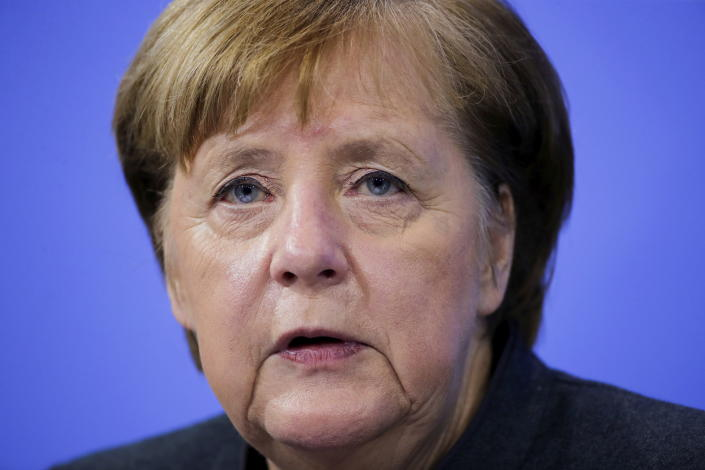 German Chancellor Angela Merkel speaks during a news conference on further coronavirus measures, at the Chancellery in Berlin, Germany, Tuesday Jan. 19, 2021. (Hannibal Hanschke/Pool via AP)