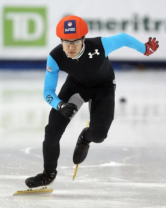 J. R. Celski competes in the men's 1,000 meters during the U.S. Olympic short track speedskating trials on Sunday, Jan. 5, 2014, in Kearns, Utah. (AP Photo/Rick Bowmer)