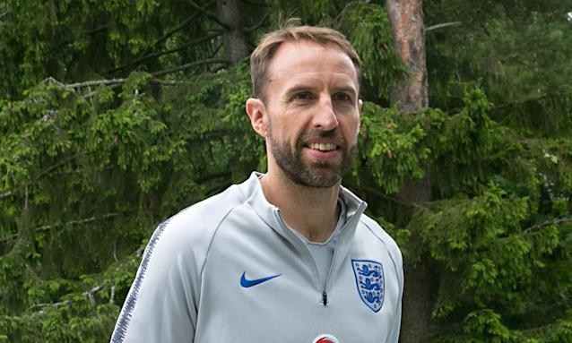 Gareth Southgate arrives at England's World Cup base in Repino after England's quarter-final victory over Sweden.