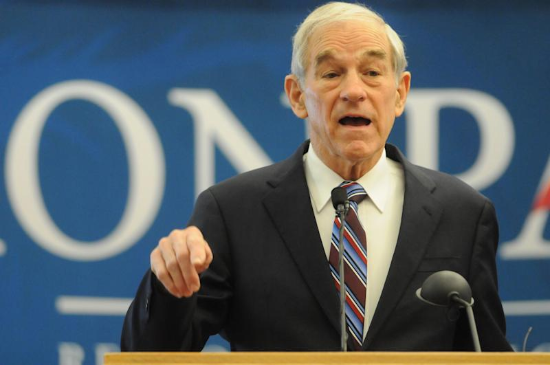 Republican presidential candidate Rep. Ron Paul, R-Texas, addresses a gathering of supporters at a rally on Tuesday, March 6, 2012 in Nampa, Idaho. (AP Photo/Idaho Press-Tribune, Charlie Litchfield) MANDATORY CREDIT