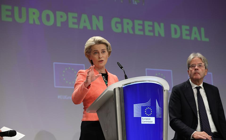 BRUSSELS, BELGIUM - JULY 14: Ursula von der Leyen, president of the European Commission attends a press conference as EU unveils a landmark climate plan in Brussels, Belgium, on, July 14, 2021. (Photo by Dursun Aydemir/Anadolu Agency via Getty Images)