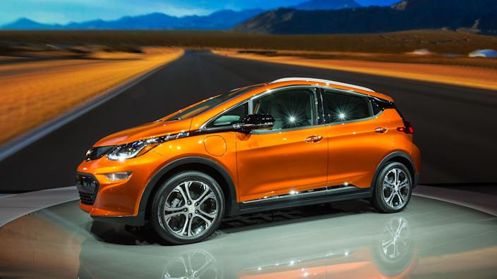 DETROIT, MI/USA - JANUARY 12, 2016: A 2017 Chevrolet Bolt EV car at the North American International Auto Show (NAIAS), one of the most influential car shows in the world each year.
