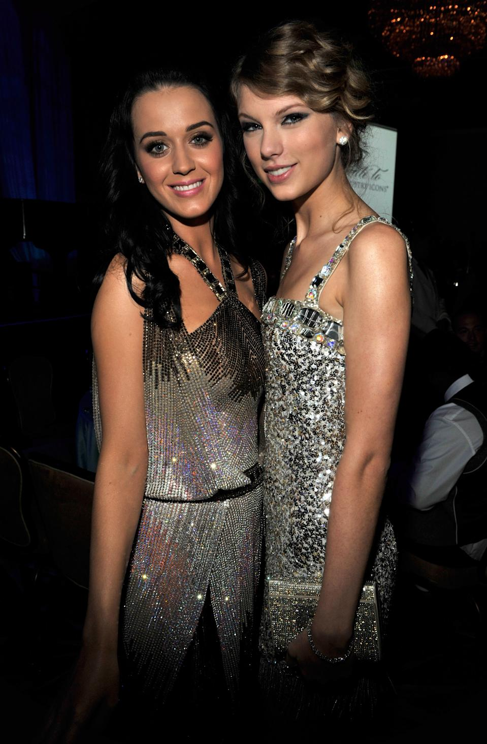 Katy Perry and Taylor Swift at the 52nd Annual GRAMMY Awards - Salute To Icons Honoring Doug Morris held at The Beverly Hilton Hotel on January 30, 2010 in Beverly Hills, California.  (Photo by Kevin Mazur/WireImage)