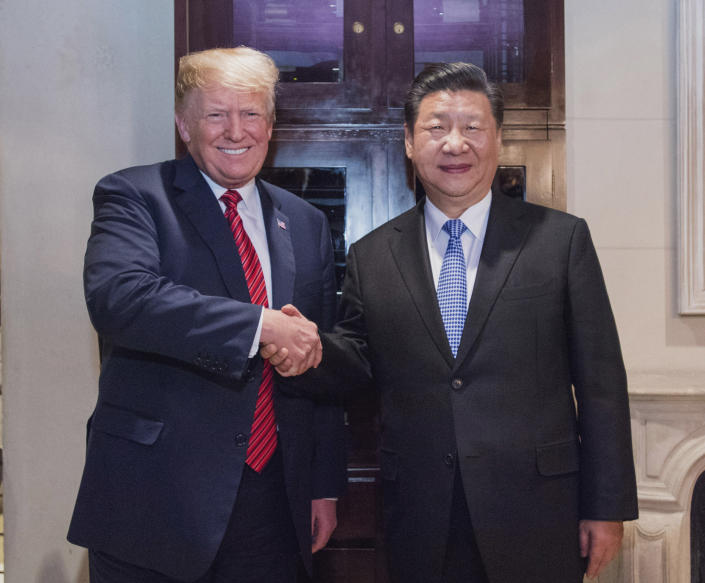 Chinese President Xi Jinping R meets with his U.S. counterpart Donald Trump in Buenos Aires, Argentina, Dec. 1, 2018. (Photo: Xinhua/Li Xueren via Getty Images)