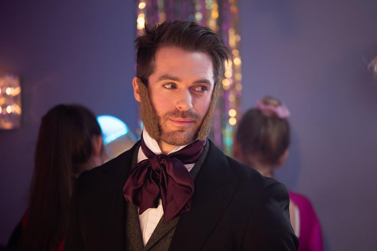<p>He kissed Sienna the night before, but is now threatening to claim that she was the one who made the move on him. And if you're wondering, his costume is Isambard Kingdom Brunel.</p>