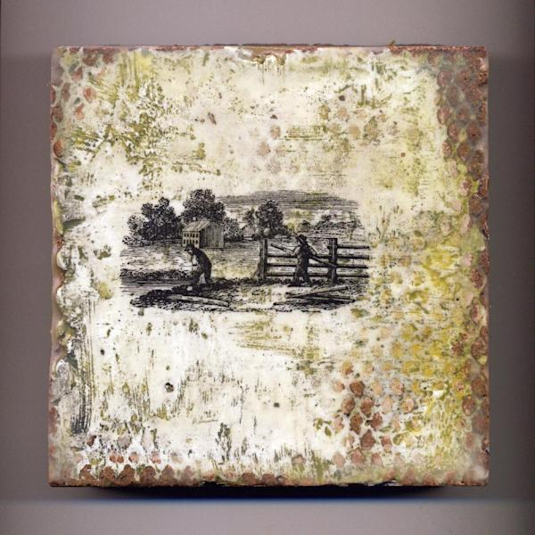 This undated publicity photo provided by Jamie Lang shows a 6-inch-by-6-inch tile piece, where Denver artist Lang painted the wax medium encaustic over an image transfer. Lang uses encaustic to give the images on his handmade, adobe tiles a nostalgic look. Encaustic is a versatile, mixed-media technique that combines pigment with hot wax, and is resurging in popularity today, though its origins date to at least the first century AD. (AP Photo/Jamie Lang)