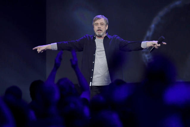<p>The last cast member to take the stage, Hamill was praised by director Rian Johnson, who said this is the actor's greatest performance yet as Luke Skywalker. (Disney/Image Group LA) </p>