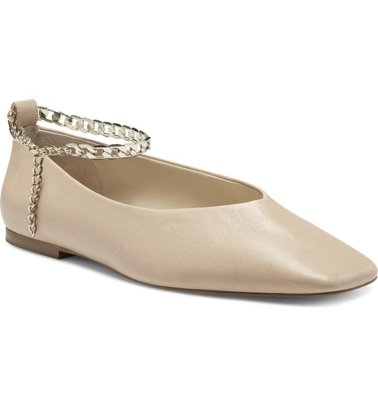 <p>The anklet chain on these comfy <span>Vince Camuto Latenla Ankle Strap Ballet Flats</span> ($100) makes them so cool.</p>