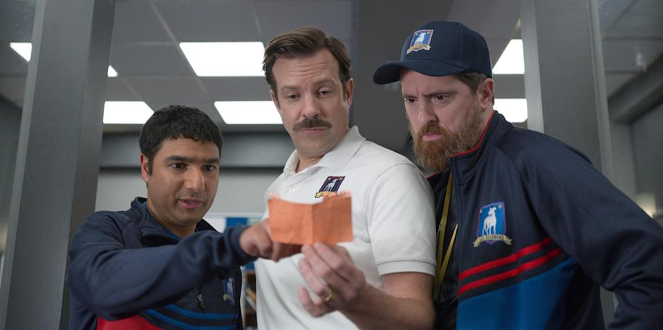 """<p><em>Nominated for: Best Television Series–Musical or Comedy; Best Performance by an Actor in a Television Series–Musical or Comedy (Jason Sudeikis)</em></p> <p>You simply cannot find a series with more heart than Ted Lasso—but don't worry, it's not treacly or sentimental. Following an American football coach who moves to London to coach a soccer team, this series combined American pluck with British wit to form something affectionate, clever, and unexpected.</p> <p><a href=""""https://cna.st/affiliate-link/338BiKkurMzWGVUoQbfHNNHTjtVxz6cruBN1uRuuppXeT8nY2gdZfPWQQjYRFcWC2AaBh6PuZ5VnR9FRKSCDyfwL3bKhPeL44wTrwfNdjj8KJQFUhj83NsbDNba63zrXyYxJmEmf6?cid=603669fea725d137256ba2f7"""" rel=""""nofollow noopener"""" target=""""_blank"""" data-ylk=""""slk:Watch now on Apple TV Plus"""" class=""""link rapid-noclick-resp""""><em>Watch now on Apple TV Plus</em></a></p>"""