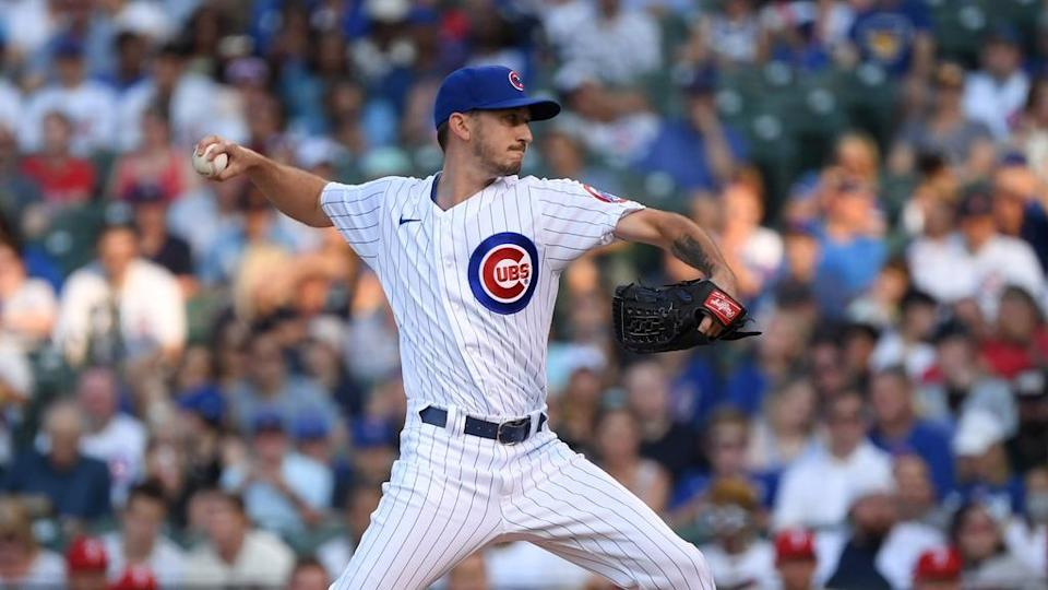 Zach Davies delivers pitch in Cubs white pinstripes