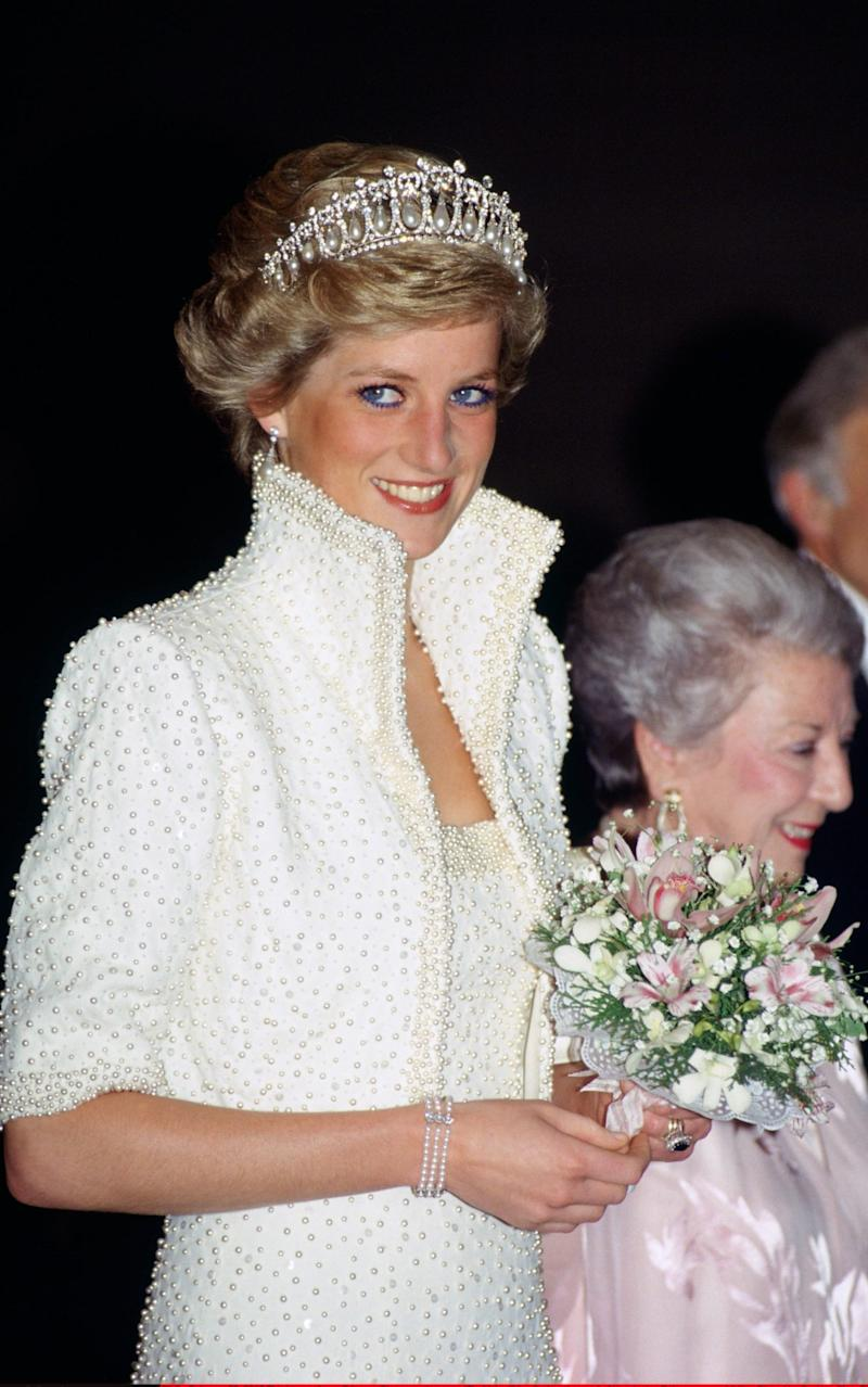 Princess of Wales wears an outfit described as the 'Elvis dress' designed by Catherine Walker  - Credit: Tim Graham /Getty