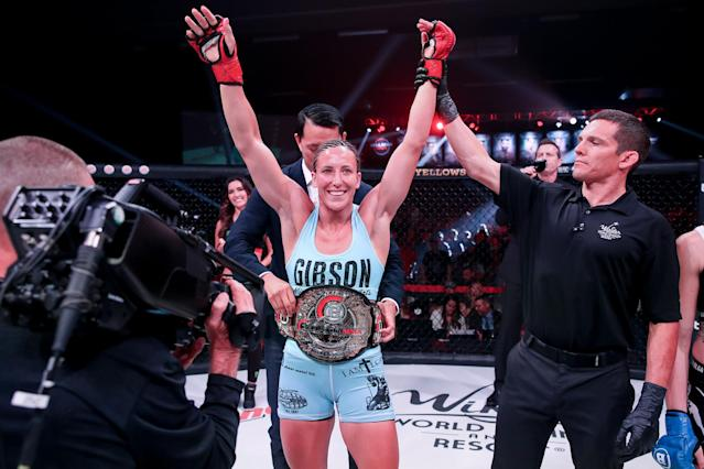 Julia Budd celebrates after defeating Olga Rubin (not pictured) at Bellator 224 on July 12, 2019 at the WinStar World Casino in Thackerville, Oklahoma.
