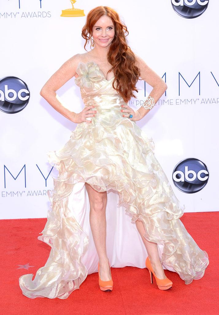 Phoebe Price arrives at the 64th Primetime Emmy Awards at the Nokia Theatre in Los Angeles on September 23, 2012.