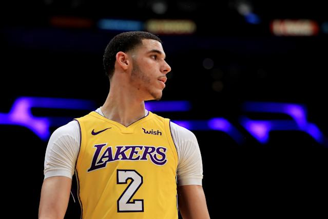"<a class=""link rapid-noclick-resp"" href=""/ncaab/players/136151/"" data-ylk=""slk:Lonzo Ball"">Lonzo Ball</a> has missed the Lakers' last four games with a sprained knee, and it looks like he might miss a few more. (Getty)"