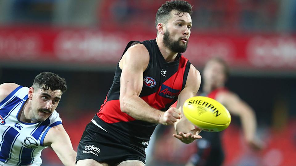 Conor McKenna, pictured here back in action for Essendon against North Melbourne.
