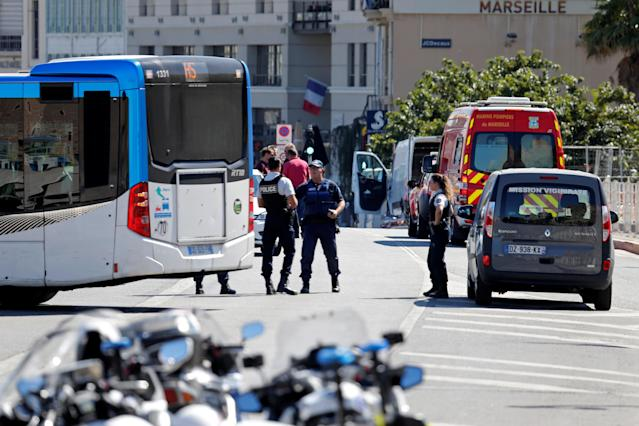 <p>French police secure the area in the French port city of Marseille, France, Aug. 21, 2017 where one person was killed and another injured after a car crashed into two bus shelters, a French police source told Reuters on Monday. (Photo: Philippe Laurenson/Reuters) </p>