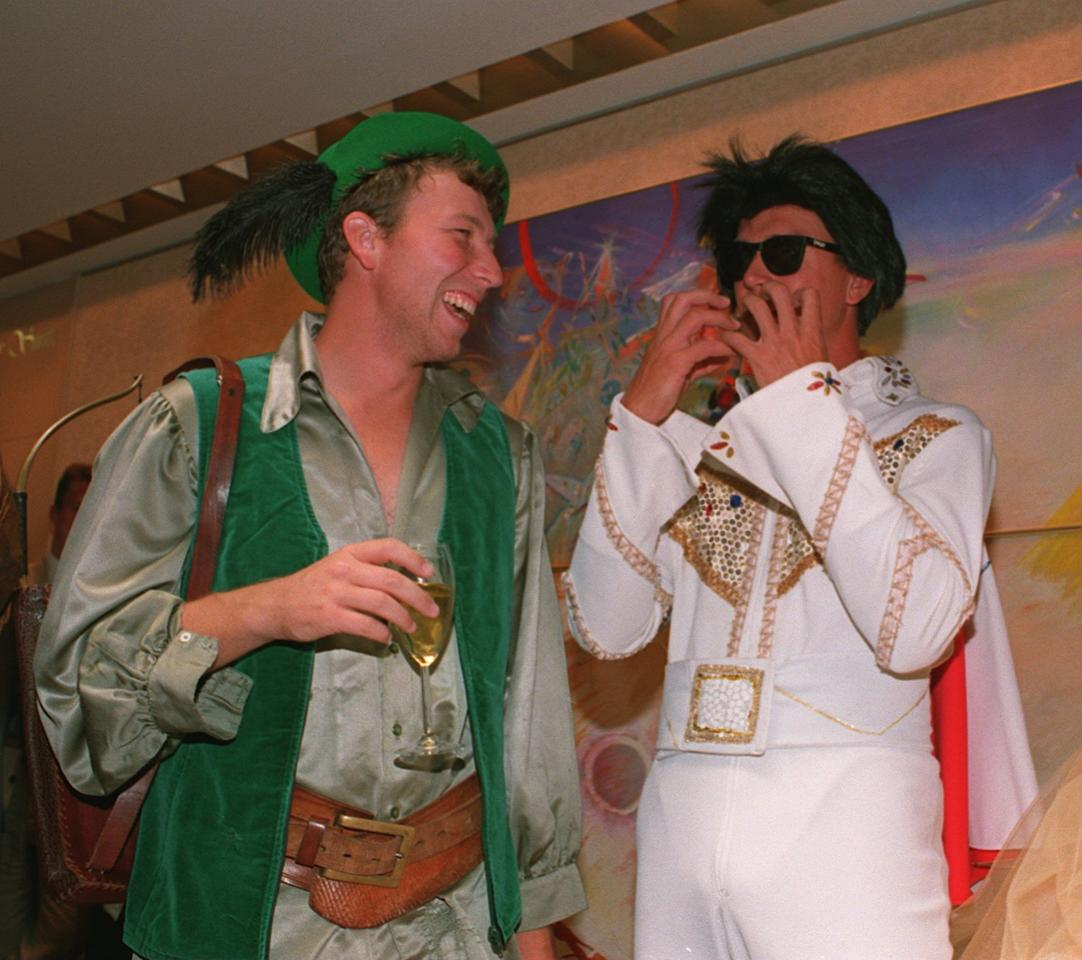 25 DEC 1994:  ENGLANDS MIKE ATHERTON AND ALEC STEWART IN FANCY DRESS FOR THE CHRISTMAS PARTY DURING THE SECOND TEST AGAINST AUSTRALIA IN MELBOURNE. Mandatory Credit: Graham Chadwick/ALLSPORT