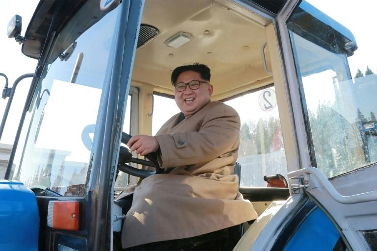 North Korean leader Kim Jong-Un inspects the Kumsong Tractor Factory in Nampo City