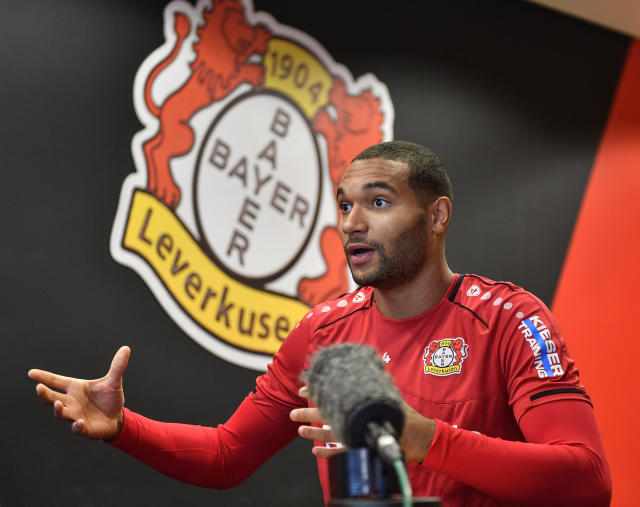 Leverkusen's Jonathan Tah talks during an interview with the Associated Press at the BayArena in Leverkusen, Germany, Monday, Dec. 2, 2019. What always people think is it's hard to play against Leverkusen and you don't like to play against Leverkusen, defender Jonathan Tah told the AP after the win against German champions Bayern last Saturday. (AP Photo/Martin Meissner)